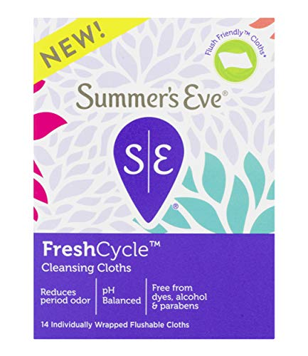 Summer's Eve FreshCycle Cleansing Cloths, Reduces Period Odor, 14 Count ()