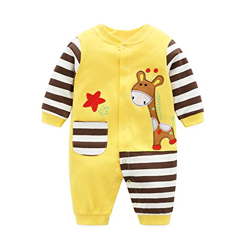 AIKSSOO Infant Toddler Baby Outfit Stripe Jersey Style Onesies Printed Romper Size 6M (Yellow ()