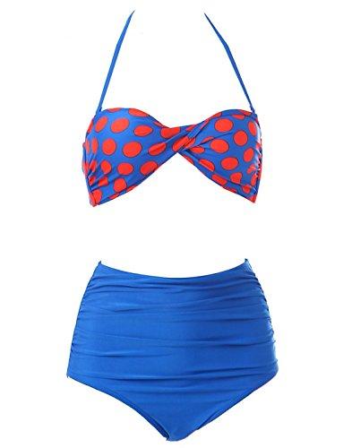 Bikini Girl BOOLAVARD Orange Up donne Rockabilly Swimsuit Pin Dot amp; Retro alta 50s delle Blue dell'annata Polka vita Set rnaqAPYr