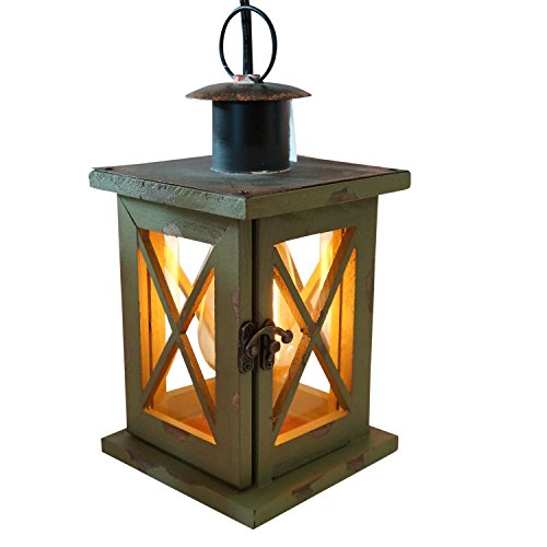 Rustic Weathered Wood and Metal Lantern - High Quality, Electric Lighted with Vintage Style Bulb (Green)