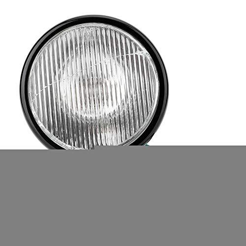Universal Motorcycle Headlight 12V Black Retro Black Shell White Lens Headlamp Motorcycle Front Headlight Lamp Bulb Indicator: