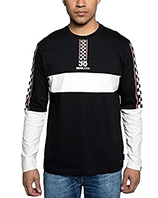 Sean John Mens Checkered Graphic Long Sleeve Shirt. Checkered