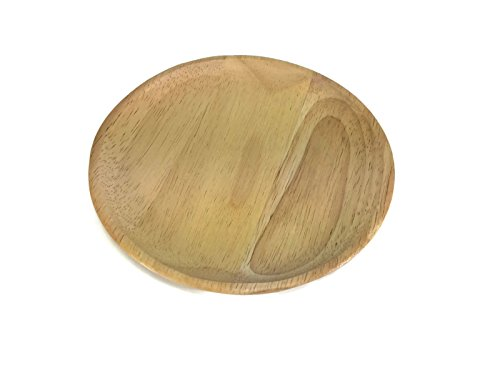 Grainware Crystal (Food Wood Tray 6 Inch Wooden Utensil Round Circle Natural Rubber Wood Tray Serving Bowl Restaurant Wooden Handcraft)