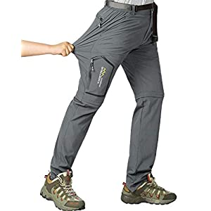 Mens Hiking Stretch Pants Convertible Quick Dry Lightweight Zip Off Outdoor Travel Safari Pants