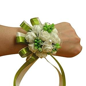 Eliffete Bridal Wedding Pearls Wrist Band Flower Corsage Ribbon Prom Bracelets 50