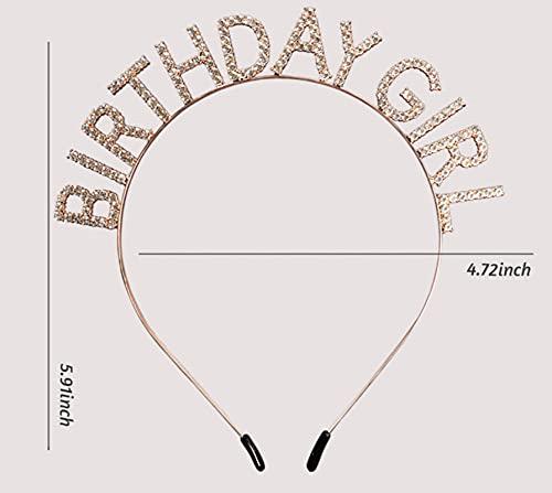 Elehere Birthday Crowns Tiaras Headbands Women Birthday Girl Sweet Princess Rhinestone Hair Band Hoop Gifts Gold (Rhinestone)