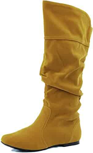 74adcfc4515 Qupid NEO-144 Classic Basic Casual Slouchy Flat Knee High Boot Mustard  Velvet 5.5
