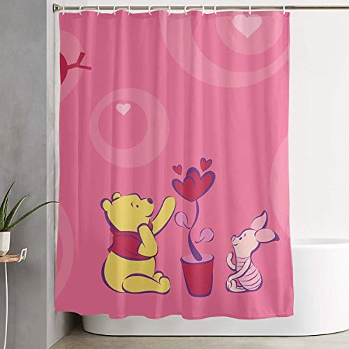 LIUYAN Shower Curtain with Hook - De Winnie Pooh Waterproof Polyester Fabric Bathroom Decor 60 X 72 Inches