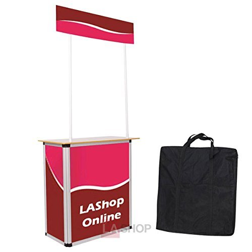 Portable Foldable Promotional Demo Counter Trade Show Display Booths w/Sturdy Aluminum Structure Wood Tabletop for Business Travel Presentations Product Demos