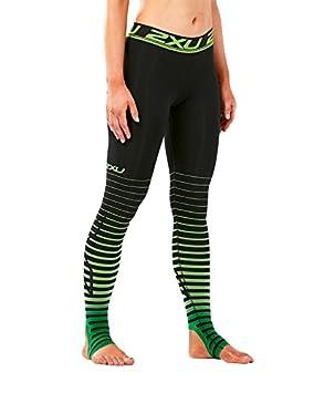 2f24dbaa2e0d2c 2XU Women's Elite Power Recovery Compression Tights, Black/Green, Small