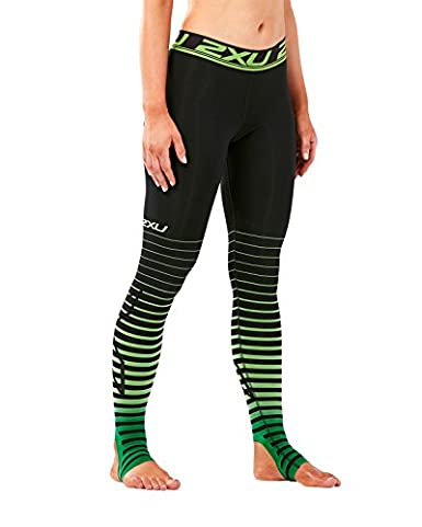 780bee9473 2XU Women's Elite Power Recovery Compression Tights, Black/Green, X-Small
