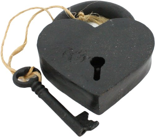 HomArt 1582-2 Cast Iron Heart Lock and Key, Black ()