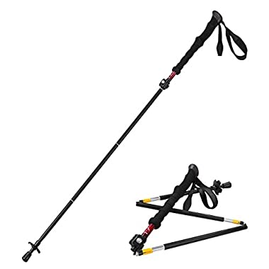 Himal 1 PCS Folding Collapsible Travel Hiking Walking Stick Trekking Pole with EVA Foam Handle (Black-Red)
