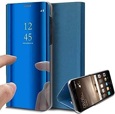 Caler Case Compatible con Xiaomi MI A1/ Mi 5X Funda Cuero PU Espejo Brillante Clear View Modelo Fecha Duro Cover Flip Tapa Libro Soporte Plegable Ventana de Espejo Transparente Carcasa