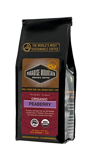 Paradise Mountain, Rare Thailand Peaberry, USDA Certified Organic, Direct Trade, Whole Bean Coffee 16oz