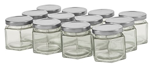 North Mountain Supply 4 Ounce Glass Hexagon Canning Jars 58 Lug - with Silver Lids - Case of 12
