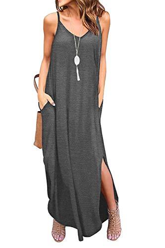 - Bloggerlove Women Boho Dress Casual Irregular Maxi Dresses Solid Loose Tank Sundress Grey XXL