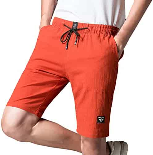 85caf16400 wodceeke Summer Fashion Solid Color Cotton Linen Leisure Sports Five Points  Sports Work Fit Short Pants