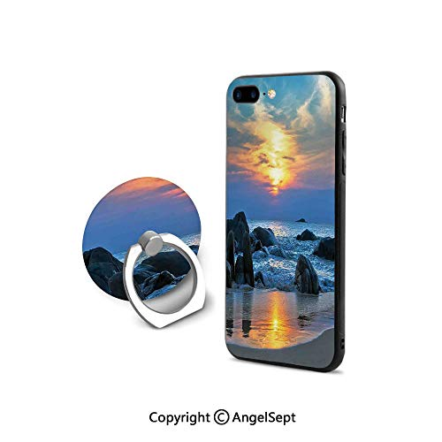 Protective Case Compatible iPhone 7/8 with 360°Degree Swivel Ring,Sunset Scenery in dy Beach with Rocks and Waves Lonely Peace Morning Dream on Earth,Retail Packaging,Blue Yellow
