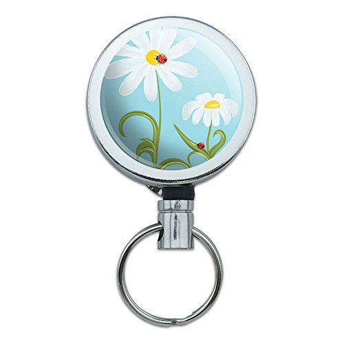 Retractable Reel Belt Clip ID Badge Key Holder Insects Ladybug Butterfly Dragonfly - Sweet Ladybugs on Flowers