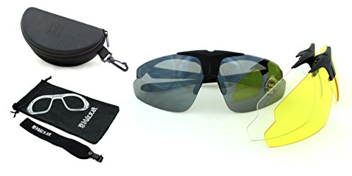 Shooting Safety Glasses, Milcraft TM Shatterproof Wraparound Unisex for Men & Women Sunglasses kit with Set of three High Strength polycarbonate UV400 Interchangeable Lenses, prescription (RX) - Sunglasses Sport Rx