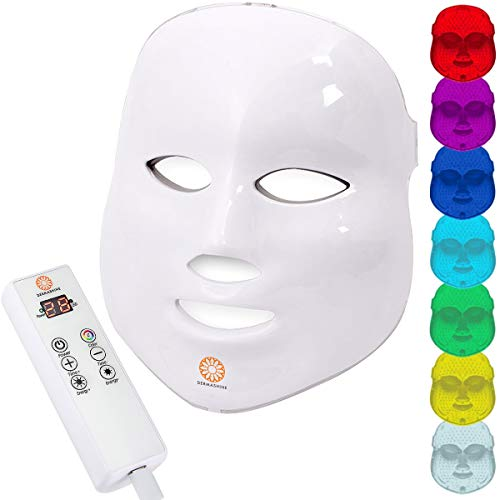 Dermashine Pro Wireless 7 Color LED Mask for Face | Photon Red Light For Healthy Skin Rejuvenation Therapy | Collagen, Anti Aging, Wrinkles, Scarring | Korean Skin Care, Facial Skin Care Mask