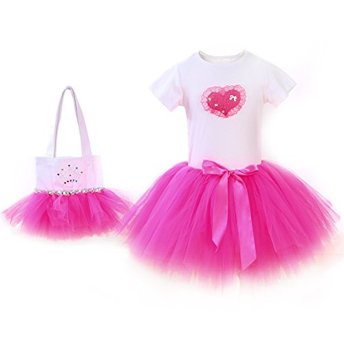 Girl's New Princess Tutu Ballet Dance Party Dress Set With T-Shirt Skirt and Bag (Girl's 1-2 YRS Old, (Halloween Costume For One Year Old)