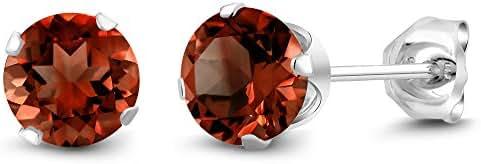 2.00 Ct Round Genuine Red Garnet Gemstone Birthstone Women's 925 Sterling Silver Stud Earrings 6MM