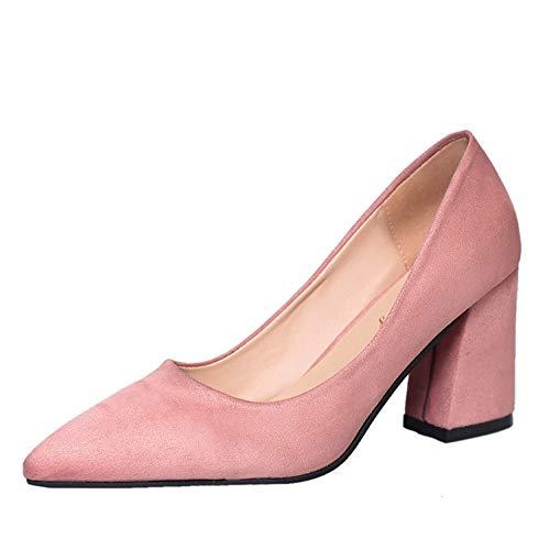 Wild Tacones alto zapatos Cómoda Boca Rough de Altos Otoño Gamuza Heels Pink Ocupación Baja tacón Yukun gwt8qSXxXH