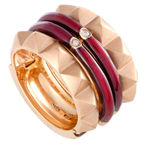 Nouvelle Bague 18K Rose Gold Diamond and Burgundy Enamel for sale  Delivered anywhere in USA