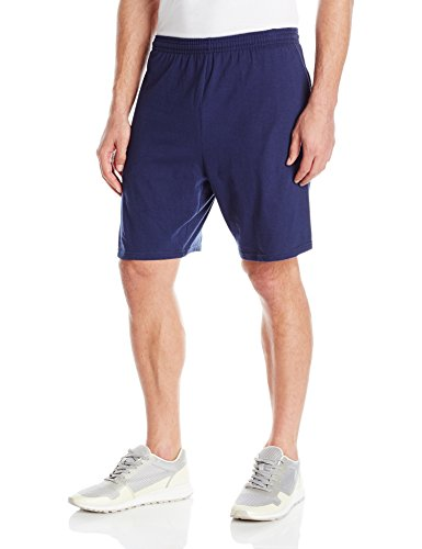 100% Cotton Basic Short - Hanes Men's Jersey Short with Pockets, Navy, XX-Large
