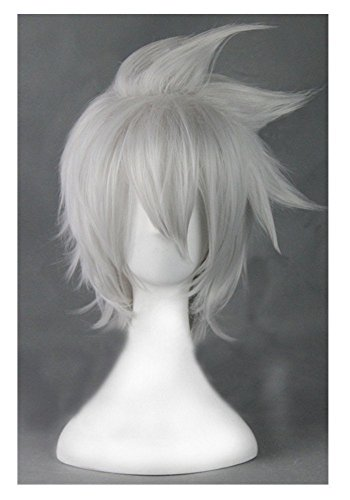 COSPLAZA Cosplay Wig Boy Male Silver White Short Spiky Halloween Hair