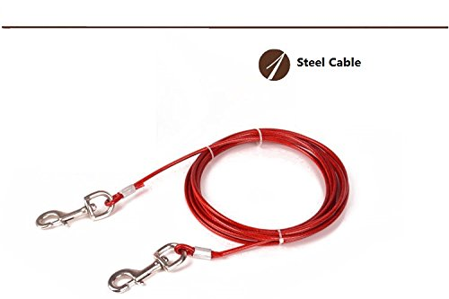 I-Fashion Heavy-Duty Pet Tie-Out Cable for Dog up to 170 lbs-10 feet long dog leash for Dog Training (Red)
