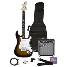 Squier by Fender Strat Electric Guitar Pack w/ Frontman 10G, Brown Sunburst