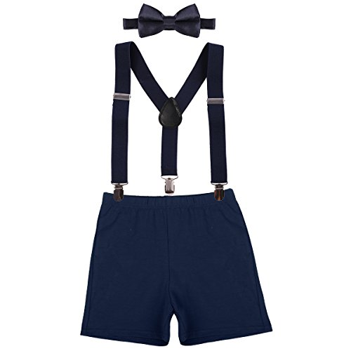 Baby Boys First Birthday Adjustable Y Back Elastic Clip Suspenders Cake Smash Outfit Tuxedo Pre-tied Bloomers Bowtie set Z# Navy Blue