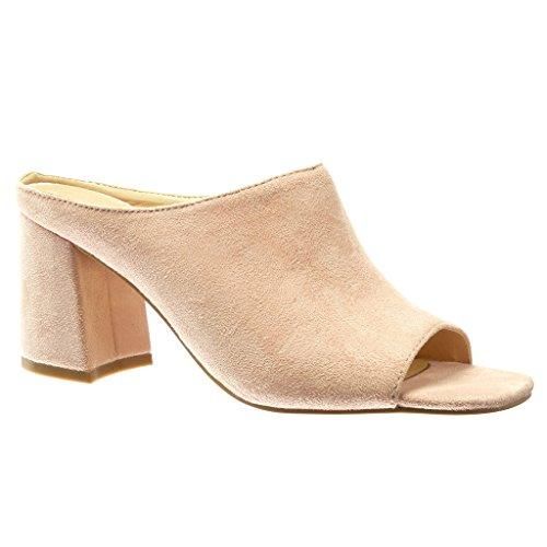 Angkorly - damen Schuhe Mule Sandalen Blockabsatz high heel 8.5 CM - Rosa