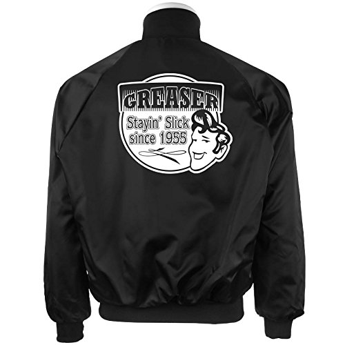 Black Satin Jacket Greaser Printed