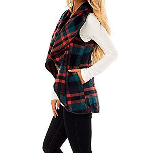 Chaleco Elegante Vintage Sleeveless Cuadros Rojo Solapa Mujer Con De Oeste Otoño Bolsillos Huixin Cardigan Cazadoras Casual Primavera q4E0qx