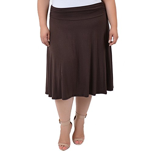 Stretch is Comfort Women's Ruched Waistband Flowy Skirt Brown 3X
