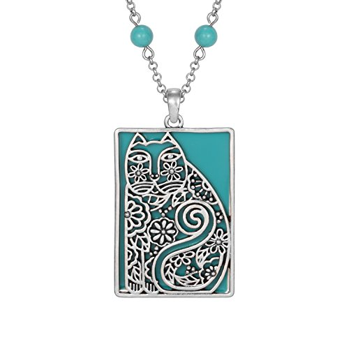 Laurel Burch Elijah's Garden Cat Necklace Turquoise Bead -