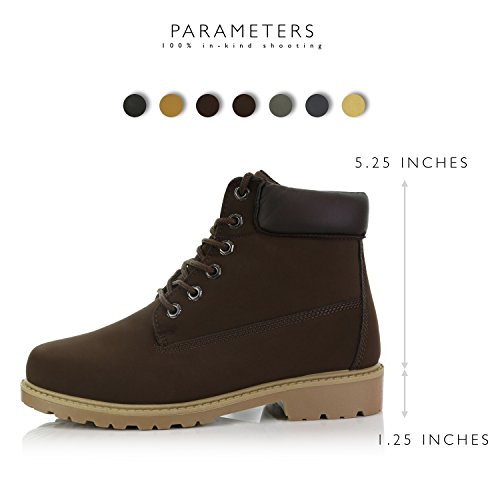 DailyShoes up Brown Pu Combat Collar Work Lace Padded Brown Women's Booties Ladies Ankle rqExwCrg