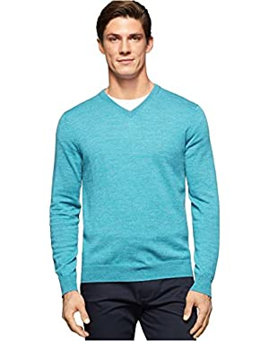 Calvin Klein Men's Merino Solid V-Neck Sweater, X-Large, Seaside Blue Heather