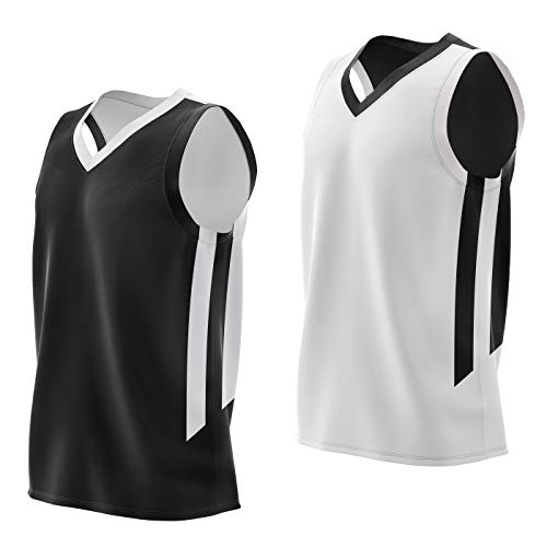 Liberty Imports Reversible Men's Mesh Athletic Basketball Jersey Single for Team Scrimmage (Jersey blk/wht, XX-Large)