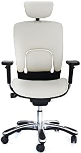 GM Seating Ergolux Genuine Leather Executive Hi Swivel Chair Chrome Base with Headrest, White