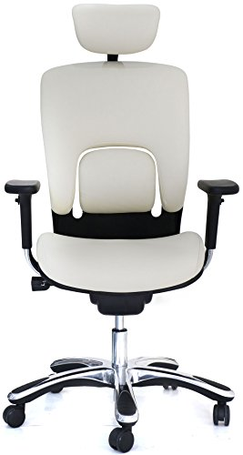 GM Seating Ergolux Genuine Leather Executive Hi Swivel Chair Chrome Base with Headrest, Cream White