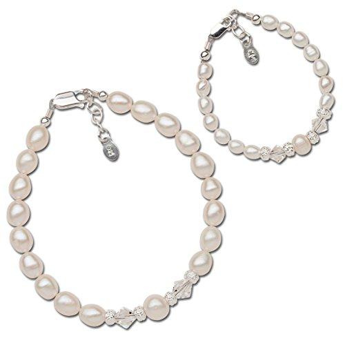 Sterling Silver Mom and Me Cultured Pearl Bracelet Set with Swarovski Crystals for Mother and Daughter (0-12 months)