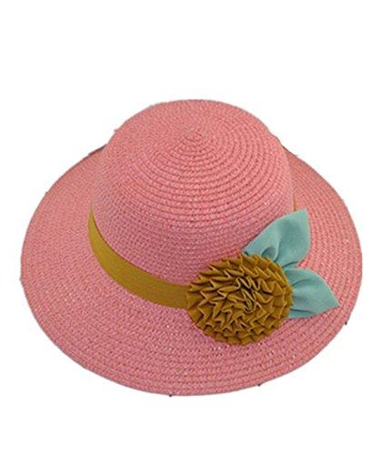 SMO cap Version coréenne de la prairie fleurs de vent laisse chapeau de paille / chapeau du soleil (601) (rose)