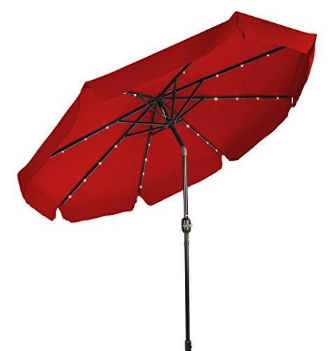 Trademark Innovations Deluxe Solar Powered LED Lighted Patio Umbrella with Decorative Edges – 9 (Red) For Sale