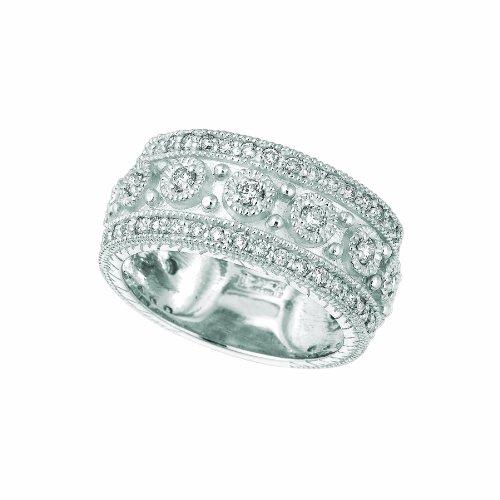 - 14k White Gold Diamond Byzantine Ring - 1.15ctw. Diamond