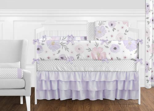 Sweet Jojo Designs Lavender Purple, Pink, Grey and White Shabby Chic Watercolor Floral Baby Girl Nursery Crib Bedding Set with Bumper - 9 pieces - Rose Flower Polka Dot (Sets Baby Crib Bedding Vintage)